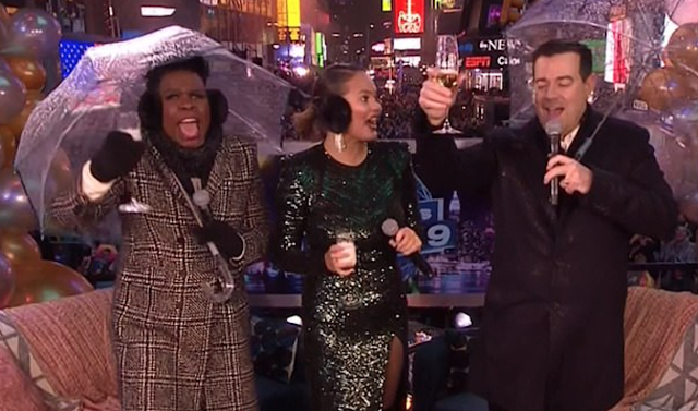 'I'm embarrassed for America': Puzzled viewers slam NBC for its 'train-wreck' New Year's Eve coverage after it failed to show the ball drop and aired Chrissy Teigen talking about 'vaginal steaming'