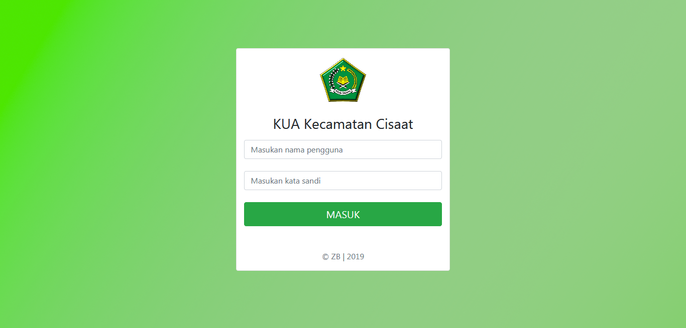Aplikasi Web KUA Pencatatan Pernikahan dengan CI