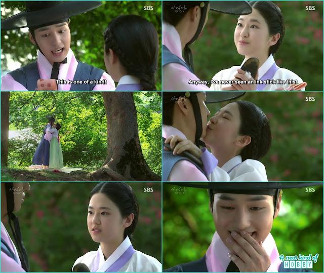 saimdang kiss lee gyeom after receiving ink stick - Romantic Moments & Kisses of Lady Shin & lee Gyeom - Saimdang, Light's Diary