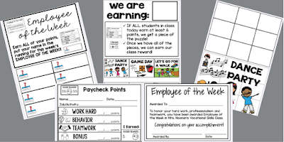Collage of 5 photographs showing a class wide reinforcer system. Includes Daily Employee Paycheck tallying points, Weekly Employee of the Week Certificate, Rules and Choiceboard for Whole Class Rewards and Puzzle Pieces to be Earned for Reward.