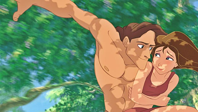 Tarzan and Jane Porter in the jungle Tarzan 1999 animatedfilmreviews.filminspector.com