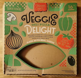 """An empty box of Mama Cozzi's Veggie Delight 16"""" Take and Bake Pizza"""