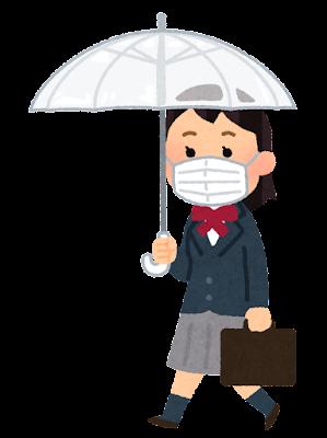 傘をさして歩く学生のイラスト(ブレザー・女子・マスク)