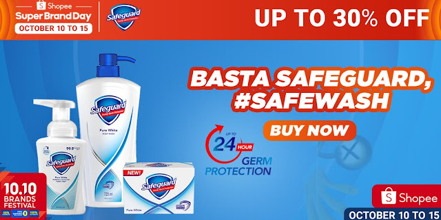Save up to 30% on Safeguard products on October 11-13 for #Safewash against germs at Shopee