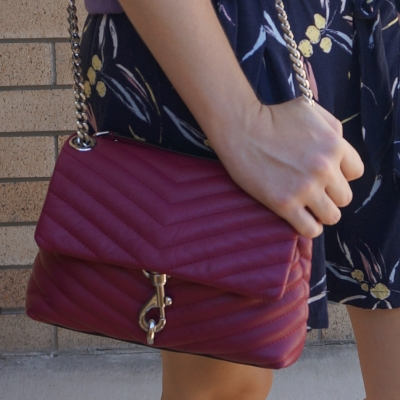 Rebecca Minkoff Edie small crossbody bag in magenta with navy printed culottes | awayfromblue