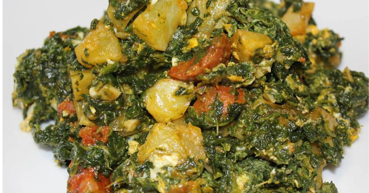 Revuelto de espinacas con chorizo y patatas  Azafranes y