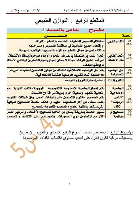 مذكرات اللغة العربية المقطع الرابع : التوازن الطبيعي السنة الخامسة ابتدائي الجيل الثاني