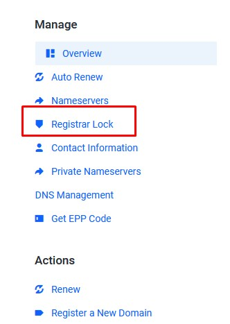Registrar Lock Idcloudhost