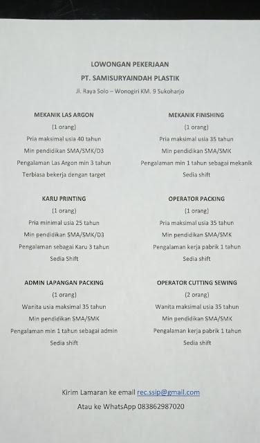 pamflet informasi lowongan pt sami surya