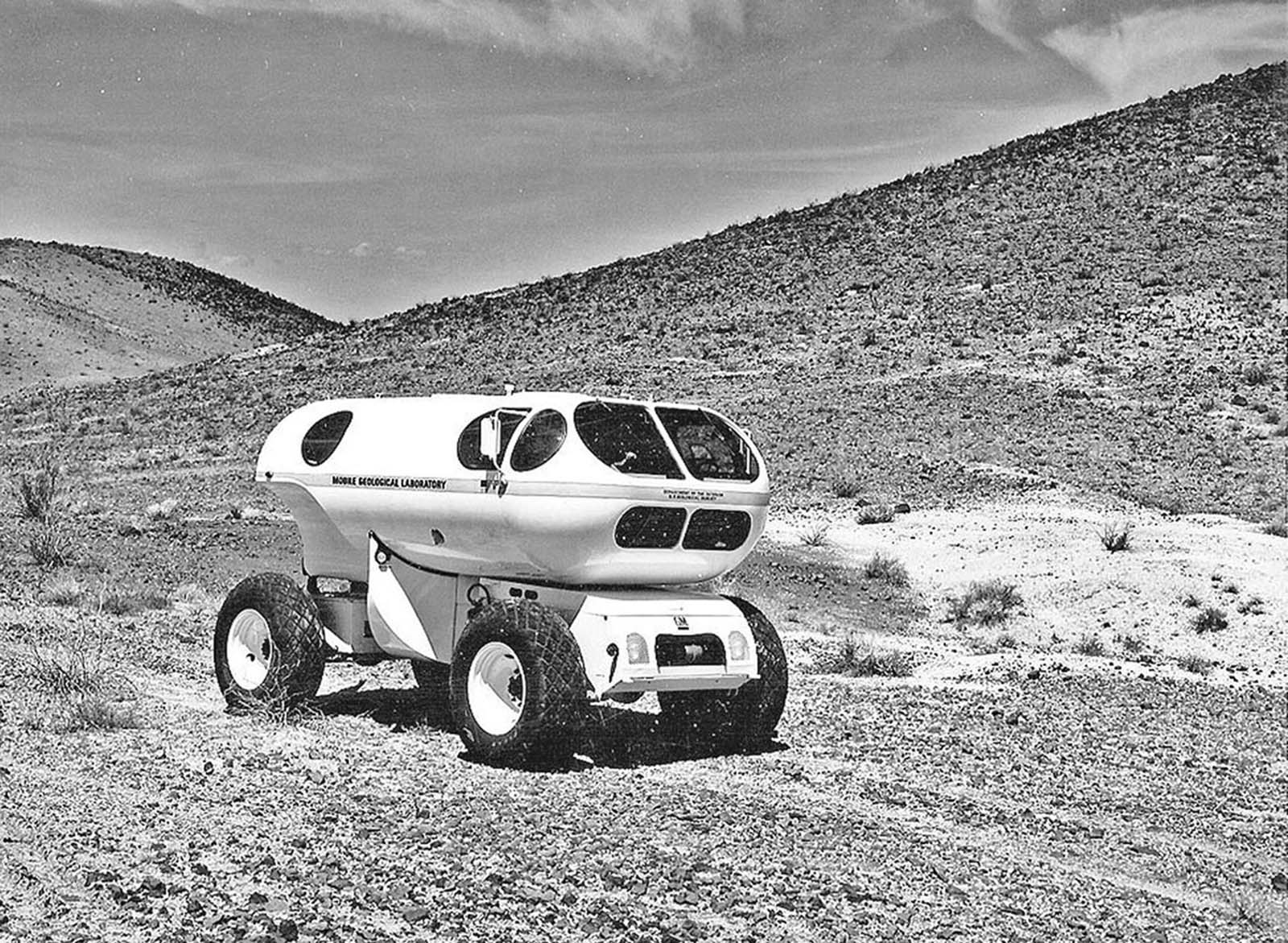 The Mobile Geological Laboratory, or MOLAB, an early-concept lunar vehicle, tests at Merriam Crater, northeast of Flagstaff, Arizona, in 1966.