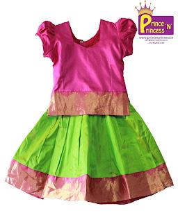 Kids Girls Pattu pavadai Pure Silk langa
