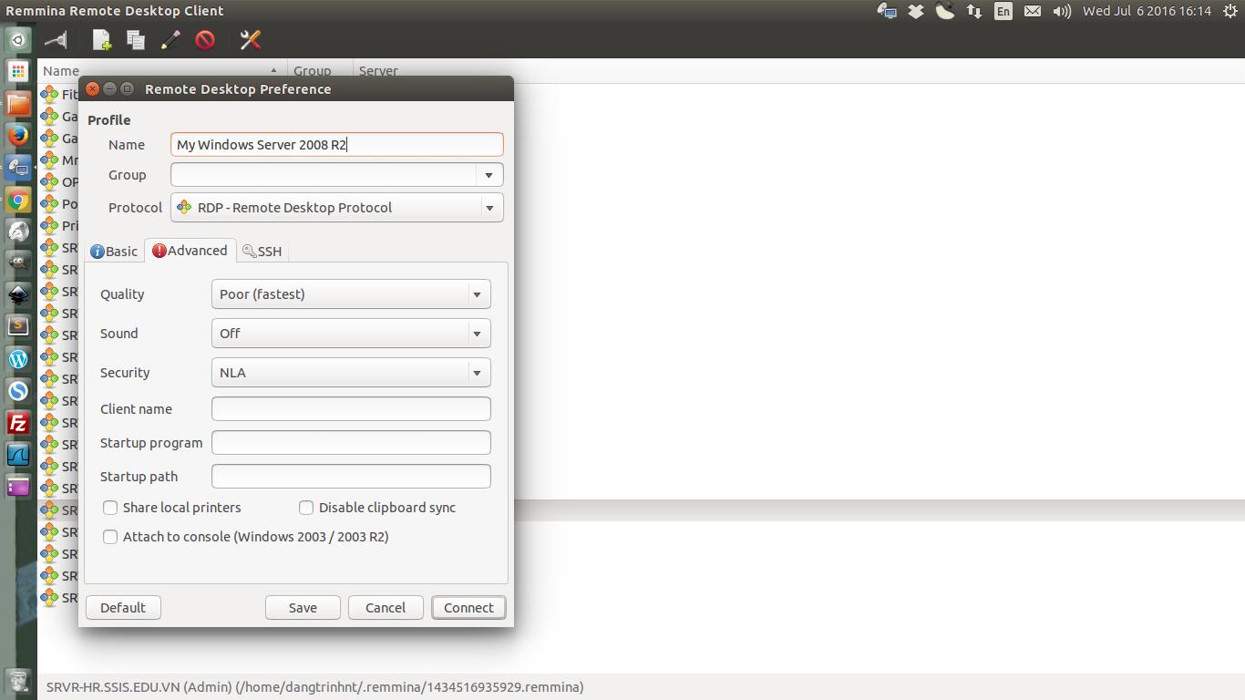 Remote desktop to a standalone Windows Server 2008 R2 server
