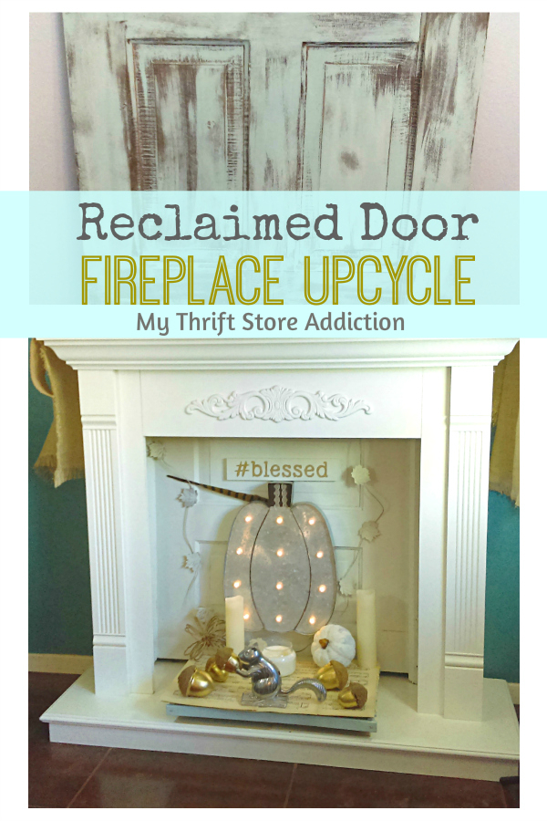 reclaimed door fireplace upcycle