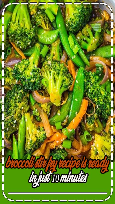 Healthy Dinner Recipes: One of my favorite broccoli recipes! This vegetarian garlic broccoli stir fry recipe is ready in just 10 minutes. Serve this easy vegan recipe over your favorite rice for a quick weeknight dinner. #healthy #healthyeating #vegetarian #egan