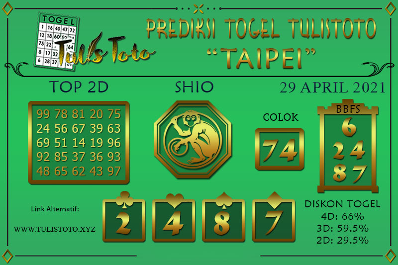 Prediksi Togel TAIPEI TULISTOTO 29 APRIL 2021