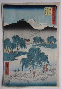 歌川広重 五十三次名所図会 御油 本野が原本坂ごへ の浮世絵版画販売買取ぎゃらりーおおのです。愛知県名古屋市にある浮世絵専門店。