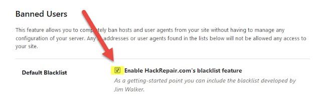 Habilitar la función de lista negra de HackRepair.com