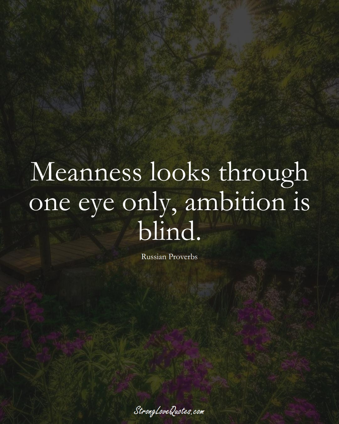 Meanness looks through one eye only, ambition is blind. (Russian Sayings);  #AsianSayings