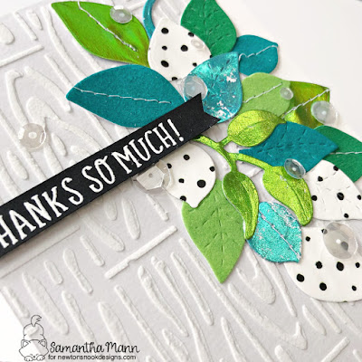Thanks so Much Card by Samantha Mann for Newton's Nook Designs and Thermoweb, Thank You Card, Deco Foil, Foil, Flock, Leaves, Cards, Card Making, #newtonsnook #newtonsnookdesigns #thermoweb #decofoil #flock #thankyou #thankyoucard #cardmaking #cards