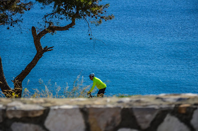Cycling on the sea, from Athens to Cape Sounion, Greece