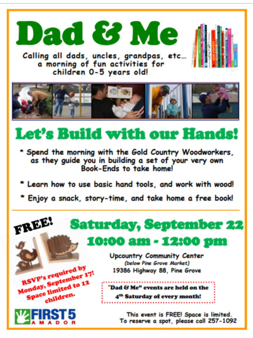First 5 Amador: Dad & Me: Gold Country Woodworkers - Sat Sept 22