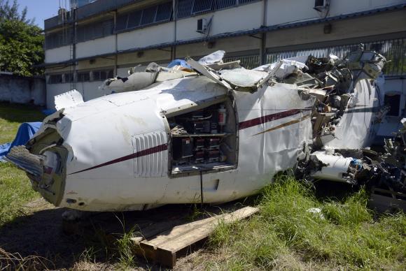 Destroços da aeronave que caiu no mar de Paraty e matou o ministro do STF Teori Zavascki e mais três pessoas em 19 de janeiro de 2017Tomaz Silva/Agência Brasil