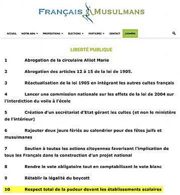 """Programme politique pour les libertés publiques du parti islamiste """"Français ET Musulmans"""""""