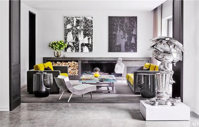 salon eclectico con obras de arte contemporáneo chicanddeco