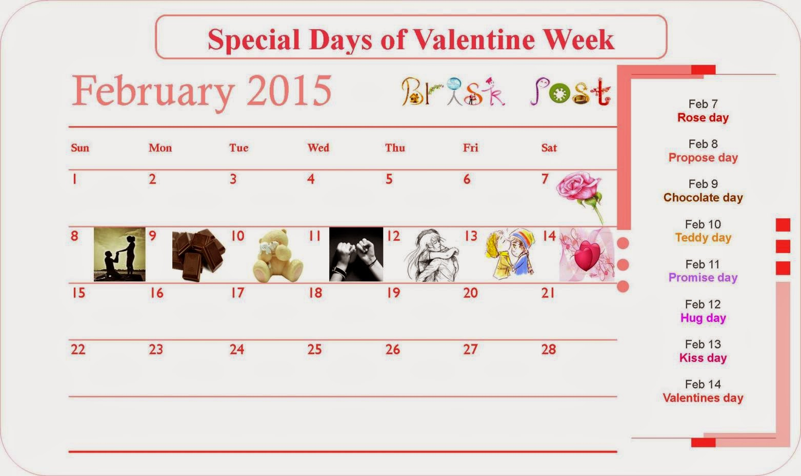 List of Seven Days of Valentine Week 2015