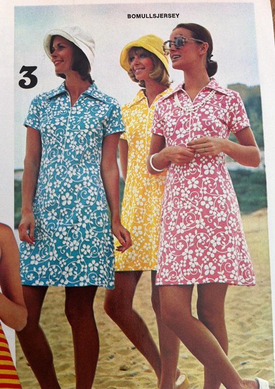 d4e5a973883e I katalogen från Borås Textil AB hösten & vintern 73-74 skymtar det färg  trots att det är höst och de bruna 70-talsmönstrade kläderna tar stor plats.