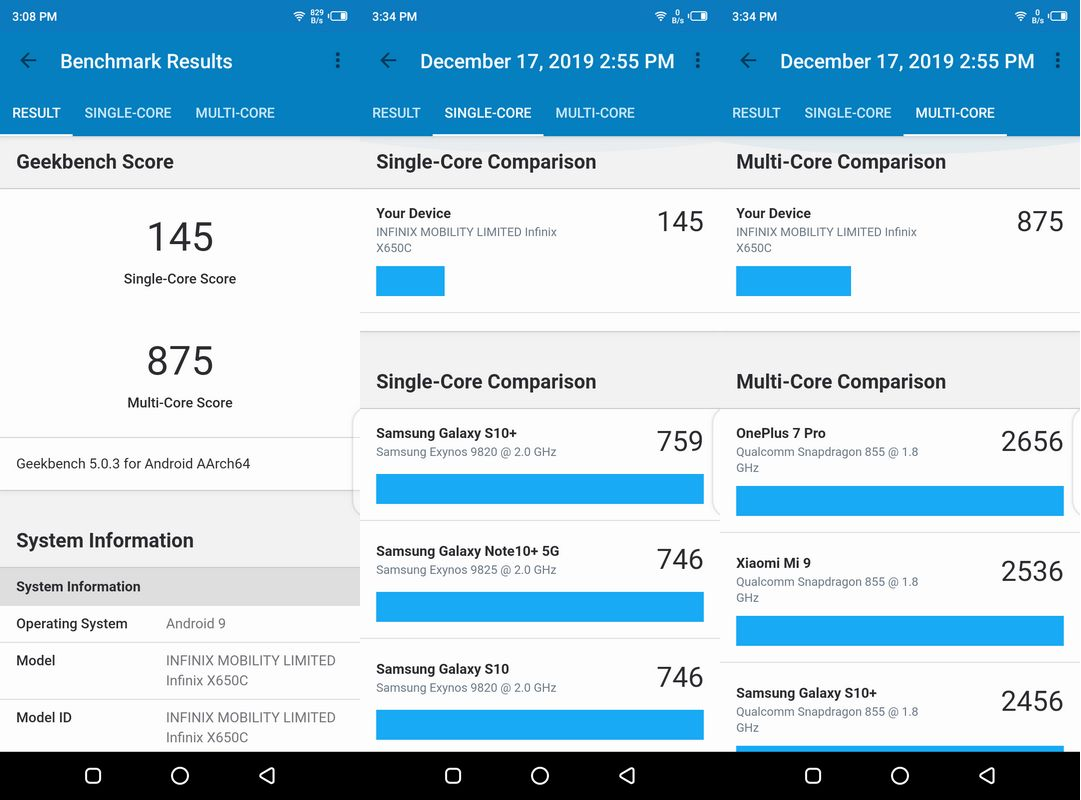 Benchmark Geekbench 5 Infinix Hot 8