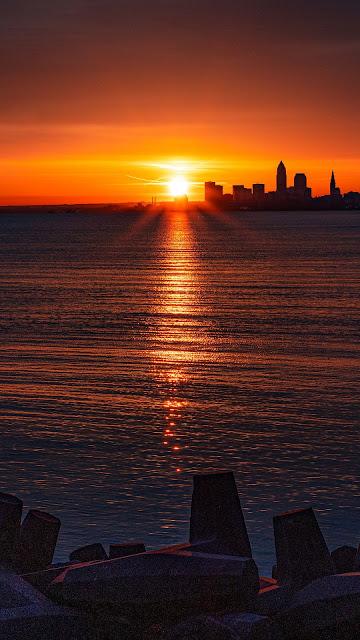 Sunset, City, Buildings, Skyline, Silhouettes, Ocean