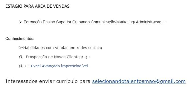ESTÁGIO ÁREA DE VENDAS