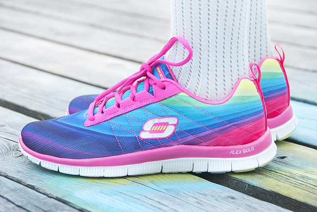 rainbow sneakers, Skechers, Voegle shoes