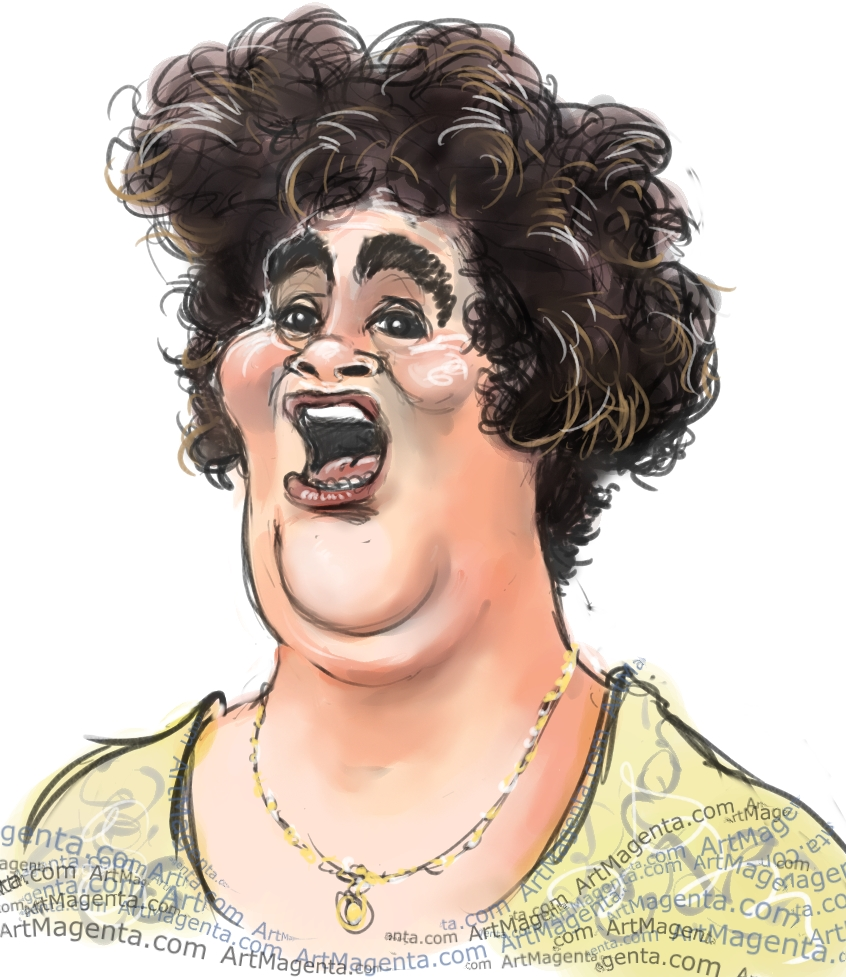 Susan Boyle caricature cartoon. Portrait drawing by caricaturist Artmagenta