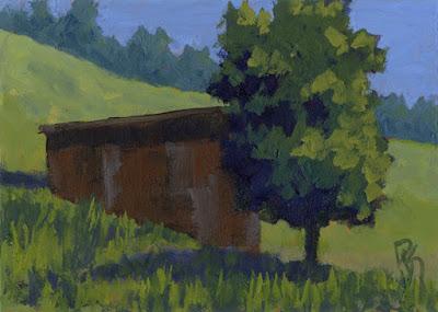 painting art rural landscape green barn