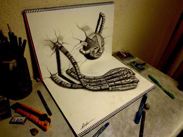 Amazing Nagai Hideyuki 3D Illusion Sketch Art Robot