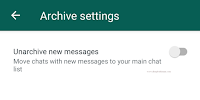 Whatsapp Archive Settings