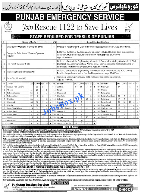 Punjab Emergency Service Rescue 1122 Jobs 2021 Apply via www.rescue.gov.pk