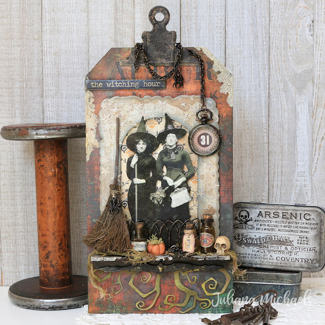 The Witching Hour Halloween Mixed Media Tag featuring Tim Holtz Halloween products by Sizzix, Stampers Anonymous, Idea-ology and Ranger Ink