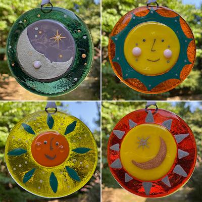 How to Paint Enamel Fused Glass Sun Sharon Warren Glass sharonwarrenglass flutterbybutterfly Finished