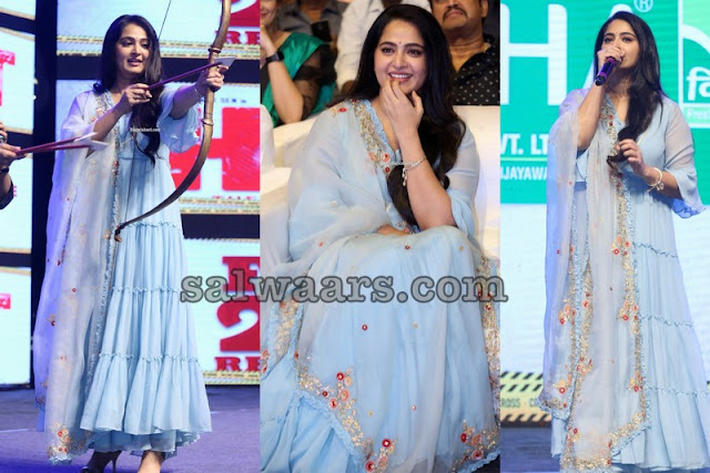 Anushka Shetty Sky Blue Floor Length Salwar