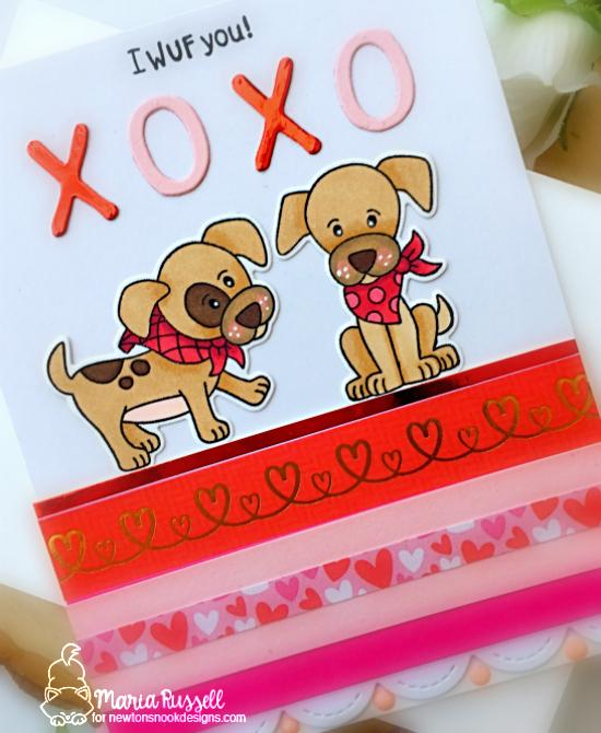 I Wuf You! Puppy Card by Maria Russell | Puppy Playtime Stamp Set and Essential Alphabet Die Set by Newton's Nook Designs #newtonsnook #handmade
