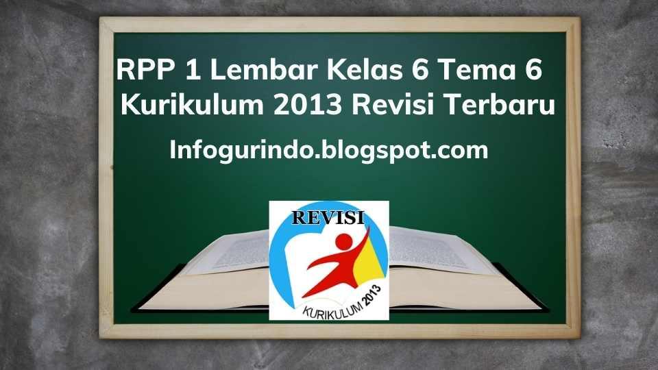 RPP 1 Lembar K13 Kelas 6 Tema 6 Semester 2 Revisi 2020