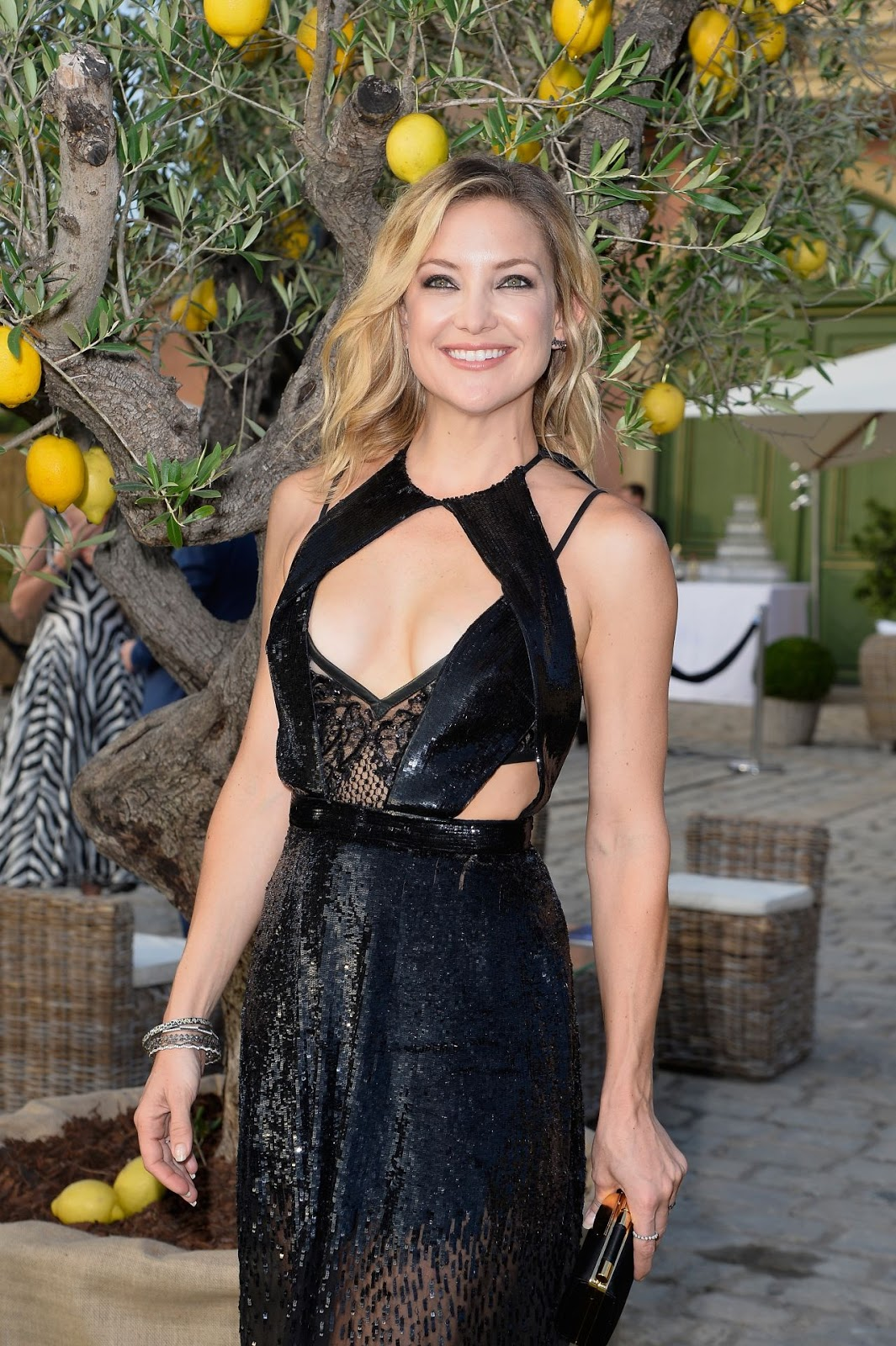 Kate Hudson in a sheer embellished gown at the 2015 Leonardo DiCaprio Foundation Gala in Saint Tropez
