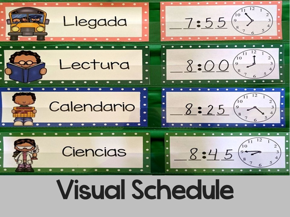 Editable Schedule Cards in Spanish l Tarjetas de horario