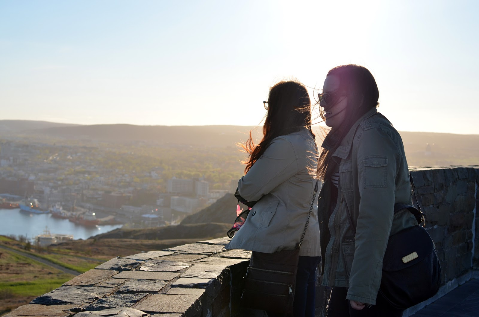 Makingupashlee and KadieWanders overlooking St. John's from Signal Hill in the sunset