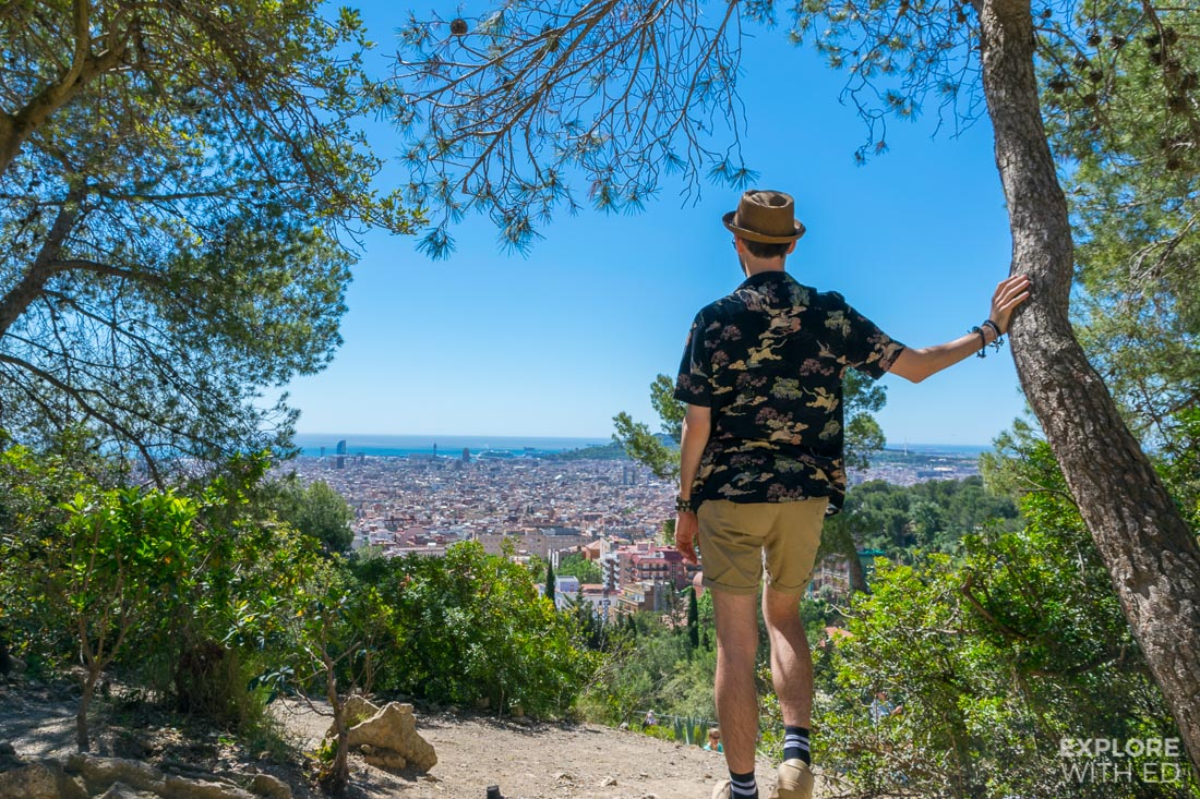 Views over Barcelona from Park Guell featuring travel blogger Explore With Ed