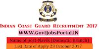 Indian Coast Guard Recruitment 2017–Navik (Domestic Branch)