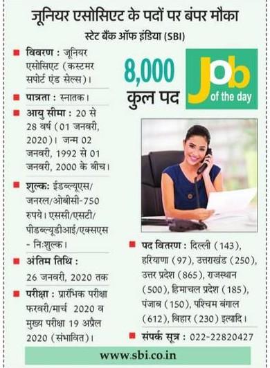 स्टेट बैंक ऑफ़ इंडिया (SBI) में निकलीं 8 हजार पदों पर नौकरियां, ऐसे करें आवेदन